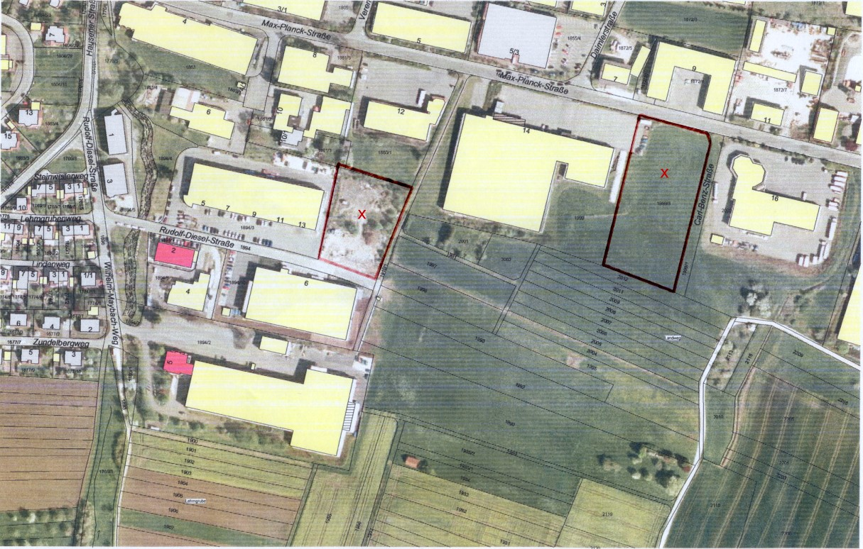 Luftbild Gewerbefläche nördlich der Rufolf-Diesel-Straße