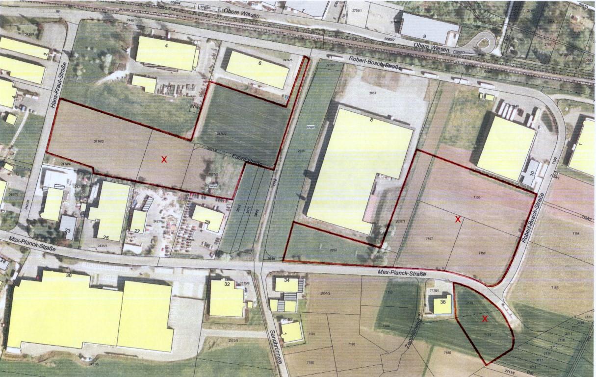 Luftbild vom Gewerbegebiet Hans-Kraut-, Robert-Bosch- und Max-Planck-Straße