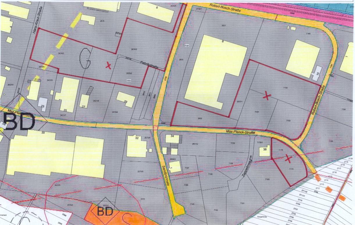 Lageplan Gewerbegebiet Hans-Kraut-, Robert-Bosch- und Max-Planck-Straße
