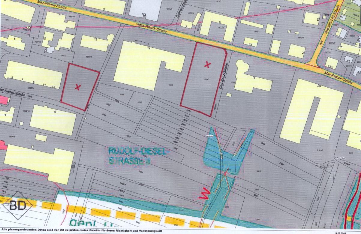 Lageplan Gewerbefläche nördlich der Rufolf-Diesel-Straße