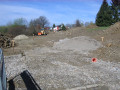 Bild der Baustellen aus Richtung der Wendeplatte im Cecile-Vogt-Weg  (05.04.2011)