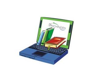 Laptop mit Büchern