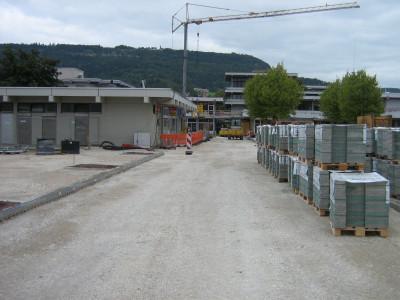 Baustelle Postplatz - Blick auf das Postgebäude